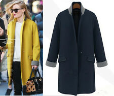 NEW WOMEN'S WOOL Cashmere Long Winter Coat Trench Blazer Suit Jacket Outwear