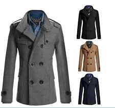 NEW Mens Winter Warm Wool Long jacket trench coat parkas overcoat -
