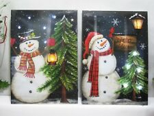 Lighted Snowman Pictures on Canvas with Led Lights Christmas Wall Art 2 Versions