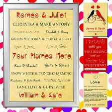 Personalised ROMANTIC GIFT FOR VALENTINES DAY - PARCHMENT PRINT - FAMOUS NAMES