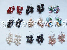 variations color Natural freshwater pearl earring and crystal ss925 hook EARRING