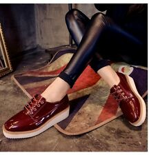 New Womens Oxfords Wedge Wing-Tip Lace-Up Platform Shoes Leisure Walking Preppy