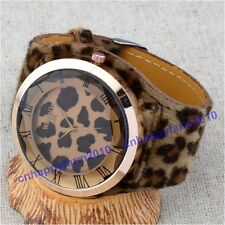 6 Colors Sexy Leopard Plush Leather Band Large Dial Women Lady Girl Quartz Watch