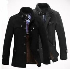 Hot casual Men's Slim Fit Winter Trench Coat Wool Long Jacket Outerwear Overcoat