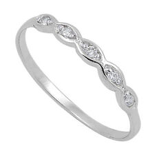 Sterling Silver Simple CZ Midi Knuckle Baby Ring RC014