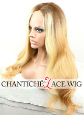 Custom 6A Dark Roots Blonde Ombre Lace Front Wig 100 Brazilian Human Hair Wigs
