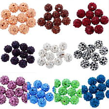 10PCs CZ Clay Crystal Disco Shamballa Beads Fit European Bracelets 10mm