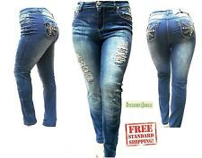 ELINE Distressed Ripped  WOMENS plus size BLUE DENIM JEANS SKINNY pants 2EP088MS