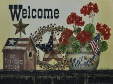 "LS1409 Patriotic Welcome Linda Spivey 12""x16"" framed or unframed print art"