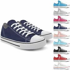 NEW WOMENS SHOES GIRLS LADIES FLAT CANVAS PUMPS LACE UP CASUAL TRAINERS SIZE 3-8