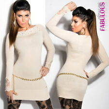 New Sexy Womens Sweater Dress Size 6 8 10 Boat Neck Lace Design Latest Fashion