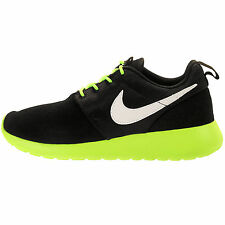 Youth / Womens Nike Roshe Run Sneakers New, Black Lime 599728-001