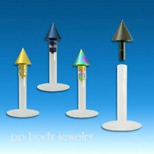 "1pc. 16g~5/16"" Bio Flexi Push-In Titanium Anodized Cone Spike Top Labret Monroe"