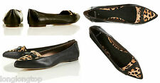 TOPSHOP ANIMAL BLACK LEATHER POINTED FLAT PUMPS  3  36  5.5  7  40  9.5 NEW