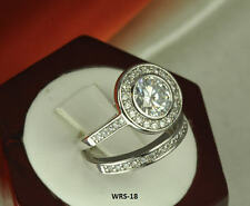 4.51 CT STERLING SILVER ROUND CZ PAVE VINTAGE ENGAGEMENT WEDDING HALO RING SET