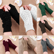 Fashion Unisex Men Women Knitted Fingerless Winter Gloves Soft Warm Mitten HG