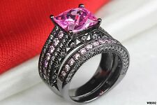 Cushion Cut Pink Sapphire Engagement Wedding Ring Set-Black Rhodium 925 Silver