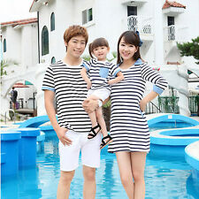 Fashion Summer Women Skirts Mom And Daughter Cotton Stripe Family Clothing Set