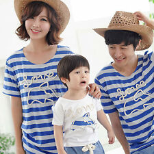 Fashion Women Family Pack Dolphin Blue Striped T-Shirts For Mother And Kids Dad