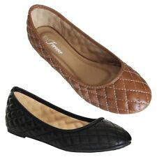 Womens Flats Comfort Shoes Ballet Slippers Slip On Faux Leather Ballerina New sz