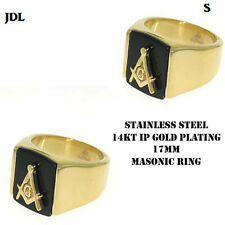 Mens Stainless Steel FreeMason  Masonic Ring In 14K Gold Finish