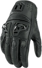 ICON Ladies Justice Leather Short Motorcycle Gloves (Stealth/Black) Choose Size