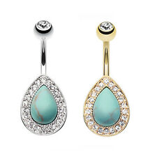 Golden Avice Turquoise Multi Gem Belly Ring Silver Gold Clear CZ Body Jewelry