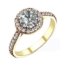 1.25 Carat G-H Round Diamond Halo Solitaire Engagement Ring 14K Yellow Gold