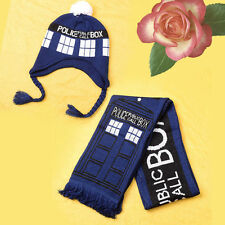 Doctor Who TARDIS Design Warm Knit Braided Bobble Hat/Scarf w Police Box Pattern