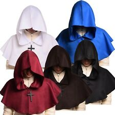 Medieval Hooded Wicca Pagan Cowl Hood w Cross Necklace Fancy / Cosplay Costume