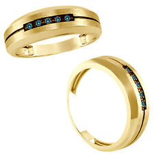 0.05 Carat Blue Round Diamond Mans Man Wedding Channel Band Ring 14K Yellow Gold