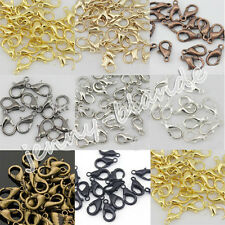 Hot 50/100Pcs Silver/Gold Plated Lobster Claw Clasps Hooks Findings DIY 10mm
