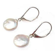 Coin Pearl Leverback Earrings 12mm Pearls Sterling Silver 4 Colours Drop/Dangle