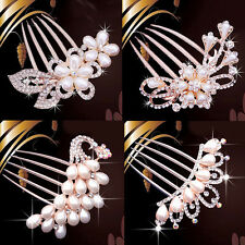 Wedding Bridal Pearls Crystal Rhinestone Hairpin Flower Diamante Hair Clip Comb