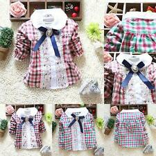 Sweet Child Baby Girls T-Shirt Plaid Bow Lace Long Sleeve Cotton Blouse Tops U65