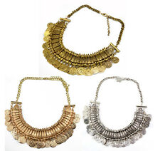 New European Fashion 3Colors Carving Flower Alloy Coin Tassels Choker Necklace