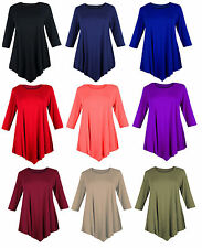 Ladies Womens Plus Size 3/4 Three Quarter Sleeve Round V Cut Neck Tunic dress
