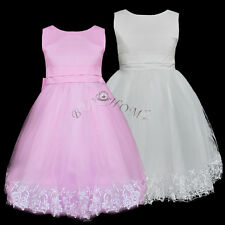 Baby Girl Kids Flower Princess Party Formal Wedding Bridesmaid Christening Dress