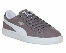 Puma Basket Classic Canvas GREY WHITE Trainers Shoes vh8