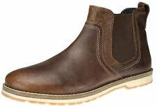 Red Tape Mens Brown Real Leather Chelsea Brown Dealer Ankle Pull On White Boots