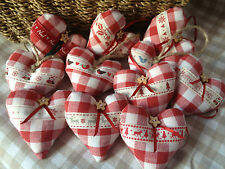 HANGING HEART CHRISTMAS TREE DECORATIONS - SHABBY CHIC - GINGHAM FABRIC - GIFT