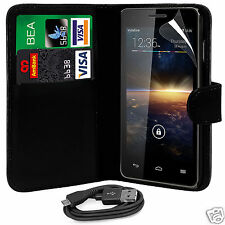 Black PU Leather Wallet Flip Case Cover, Film & Data Cable For Various Phones