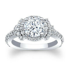 1.50CT BRILLIANT CUT DIAMOND LOOK HALO ENGAGEMENT RING In 925 STERLING SZ J-Z