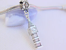 Cute 3D Silver Tone London Clock Tower Big Ben Dangle Charm fits Euro Bracelets