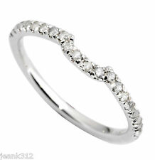 Diamond Wedding Ring Band 0.20 Carat CURVED 14K White Gold Classic Traditional