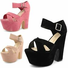 Womens Ladies Peep Toe Wedge High Heel Platform Ankle Strap Sandals Shoes Size