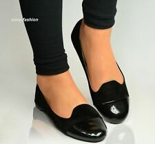 New Ladies Black Flats Elegant Ballerina Dolly Pumps Womens Work Shoes Size UK