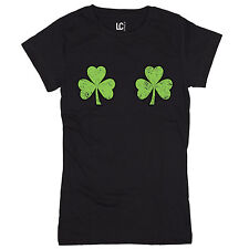 Twin Shamrocks Chest Naughty Funny Drinking St. Patrick's Day Boobs Womens Top