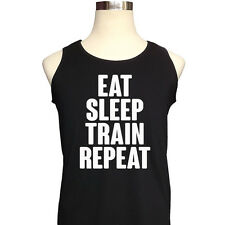 EAT SLEEP TRAIN REPEAT Tank Top Vest Workout Fitness