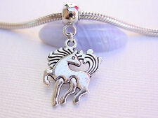 3D Silver Tone Unicorn Pony Horse European Dangle Charm Slider Bead fit Bracelet